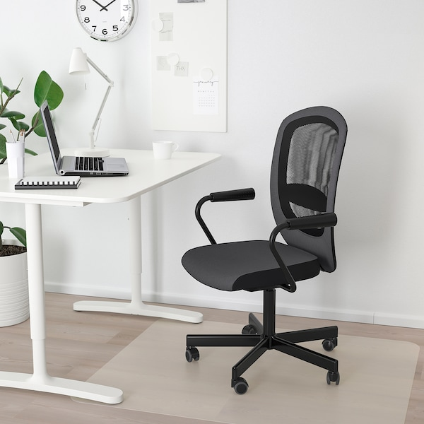 """FLINTAN / NOMINELL office chair with armrests gray 242 lb 8 oz 29 1/8 """" 27 1/8 """" 40 1/8 """" 44 7/8 """" 18 1/2 """" 18 7/8 """" 18 1/2 """" 23 5/8 """""""