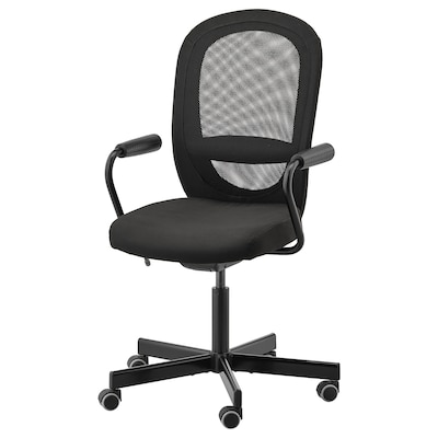 "FLINTAN / NOMINELL office chair with armrests black 242 lb 8 oz 29 1/8 "" 27 1/8 "" 40 1/8 "" 44 7/8 "" 18 1/2 "" 18 7/8 "" 18 1/2 "" 23 5/8 """