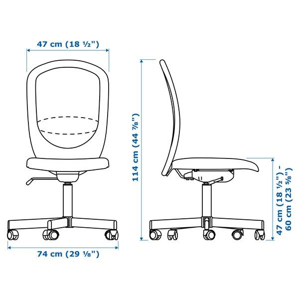"FLINTAN office chair Vissle black 242 lb 8 oz 29 1/8 "" 27 1/8 "" 40 1/8 "" 44 7/8 "" 18 1/2 "" 18 7/8 "" 18 1/2 "" 23 5/8 """