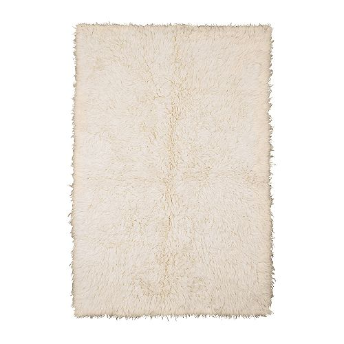 "FLOKATI Rug, high pile, white Length: 6 ' 7 "" Width: 4 ' 7 "" Pile coverage: 2.62 oz/sq ft Pile thickness: 1 ½ ""  Length: 200 cm Width: 140 cm Pile coverage: 800 g/m² Pile thickness: 40 mm"