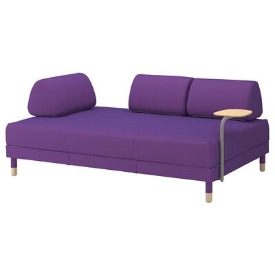 """FLOTTEBO sleeper sofa with side table Vissle purple 31 1/8 """" 78 3/4 """" 47 1/4 """" 31 1/8 """" 36 1/4 """" 18 1/8 """" 47 1/4 """" 78 3/4 """""""