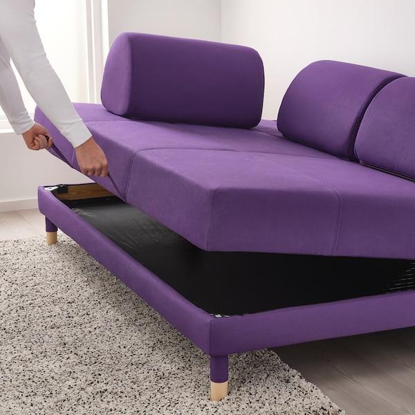 """FLOTTEBO sleeper sofa Vissle purple 31 1/8 """" 78 3/4 """" 47 1/4 """" 36 1/4 """" 18 1/8 """" 47 1/4 """" 78 3/4 """""""
