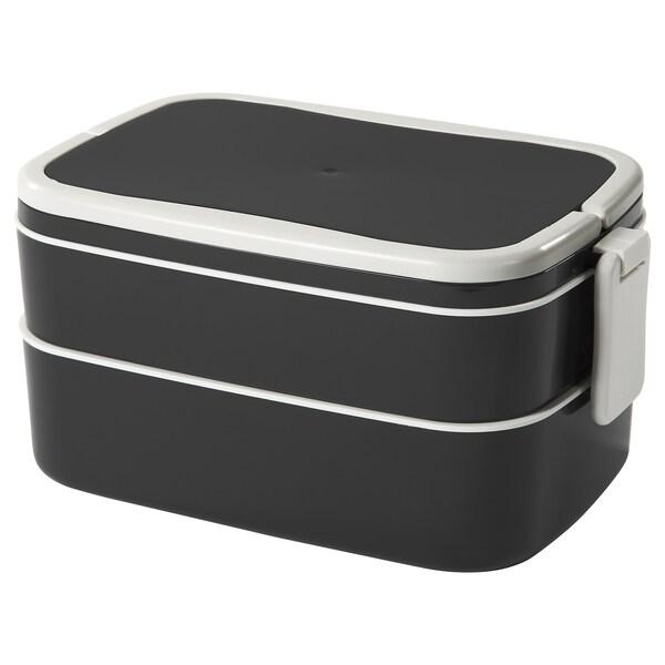 "FLOTTIG Lunch box, black/white, 8 ¼x5x4 """