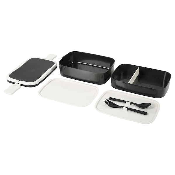 FLOTTIG Lunch box, black/white, 8 ¼x5x4 ""