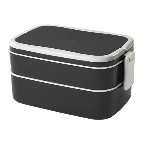FLOTTIG Lunch box, black, white