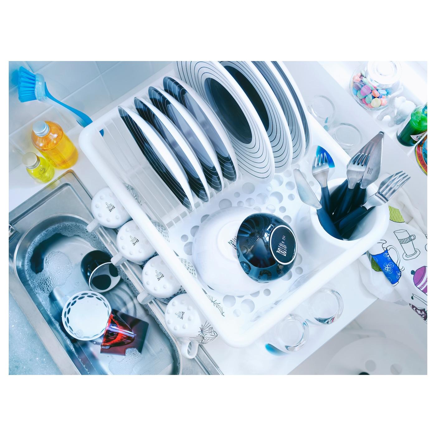 White Ikea Flundra Kitchen Dish Drainer Plastic Plate Cutlery Sink Drainer