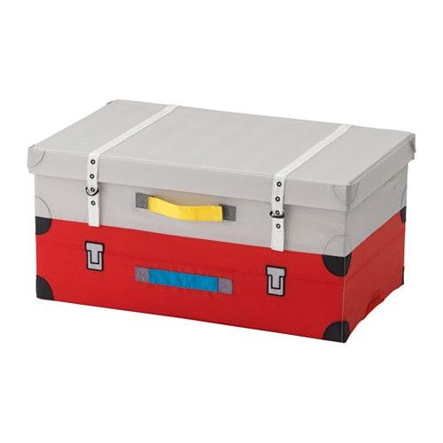 FLYTTBAR Toy trunk, red red 22 ½x13 ¾x11