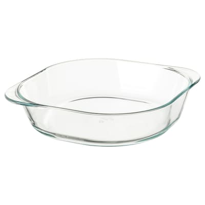 FÖLJSAM Oven dish, clear glass, 9 ¾x9 ¾ ""
