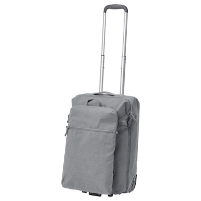 "FÖRENKLA carry-on bag on wheels and backpack light gray 13 ½ "" 7 ¾ "" 20 ½ """