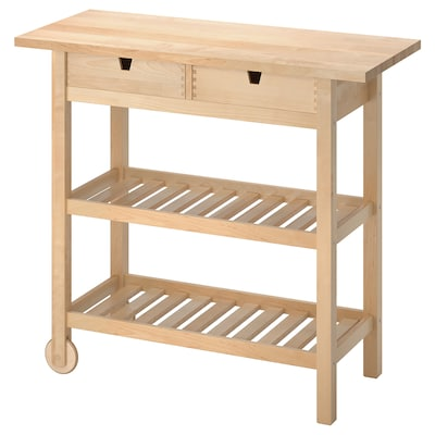 FÖRHÖJA Kitchen cart, birch, 39 3/8x16 7/8 ""