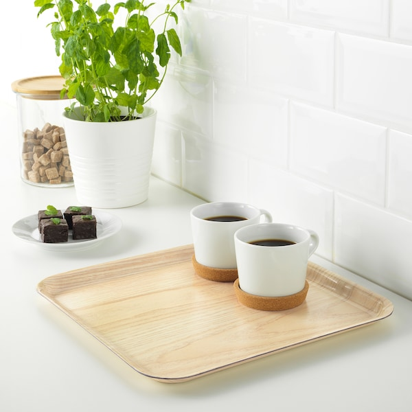 FÖRMEDLA Tray with non-slip bottom, wood effect, 13x13 ""