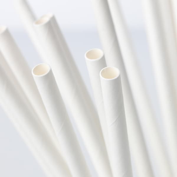 FÖRNYANDE drinking straw paper/white 100 pack