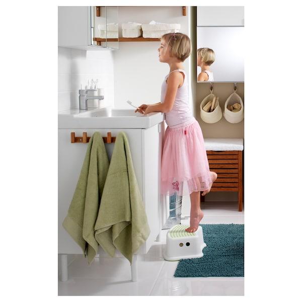 """FÖRSIKTIG children's stool white/green 14 5/8 """" 9 1/2 """" 5 1/8 """" 77 lb 3 oz"""