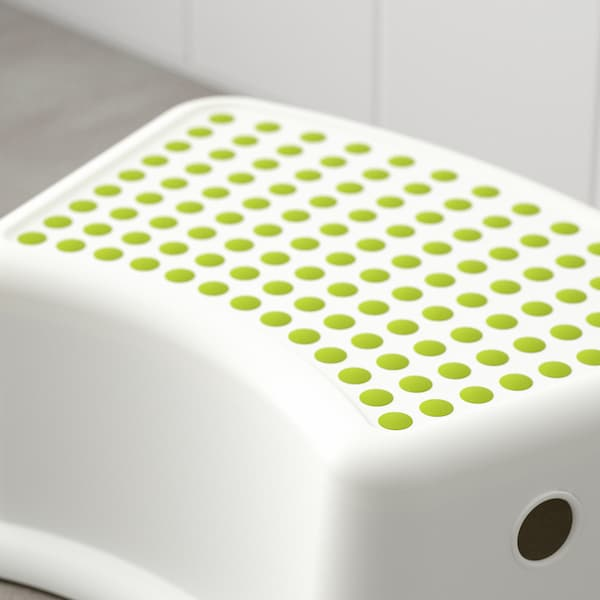 FÖRSIKTIG Children's stool, white/green