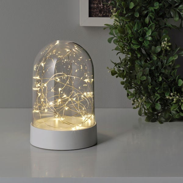 FÖRTJUSNING LED decorative light, battery operated/dome white, 7 ""