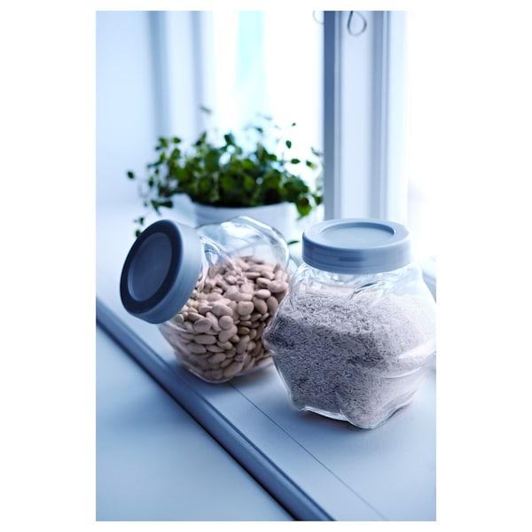 FÖRVAR Jar with lid, glass/aluminum color, 61 oz