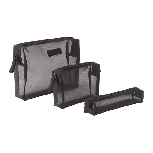 FÖRFINA Accessory bag, set of 3, black