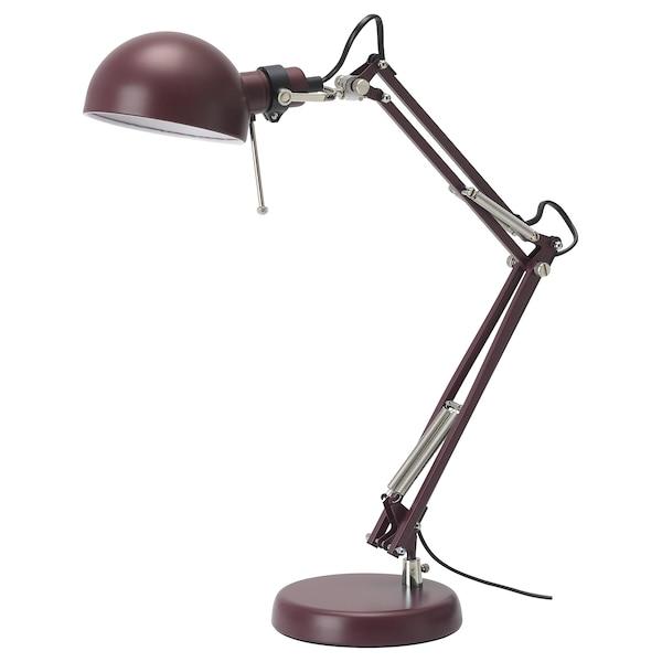 FORSÅ Work lamp with LED bulb, dark red