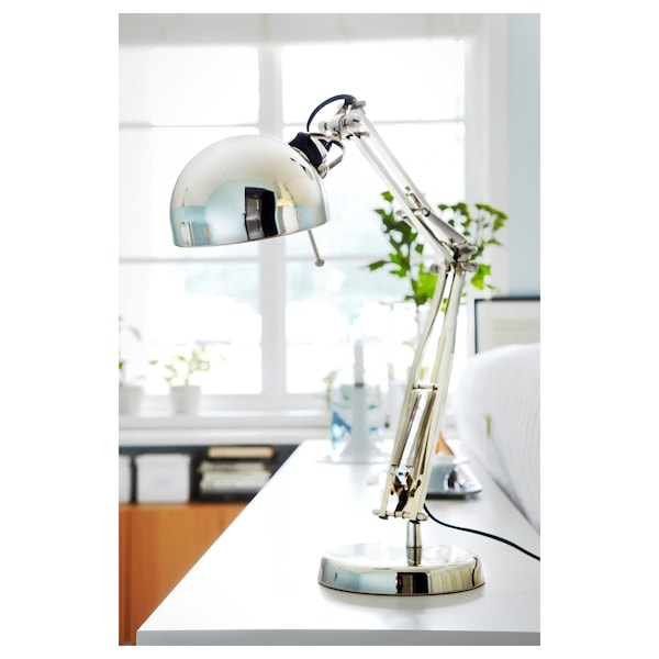 FORSÅ Work lamp with LED bulb, nickel plated