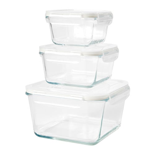 FÖRTROLIG Food container, set of 3, clear glass