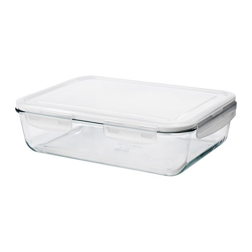 FÖRTROLIG Food container, clear glass