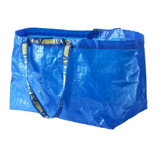"FRAKTA Shopping bag, large blue Length: 21 ¾ "" Depth: 14 ½ "" Height: 13 ¾ "" Volume: 19 gallon  Length: 55 cm Depth: 37 cm Height: 35 cm Volume: 71 l"