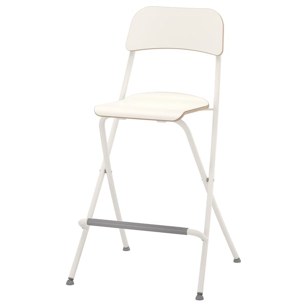 Franklin Bar Stool With Backrest Foldable White Tested For 220 Lb Ikea