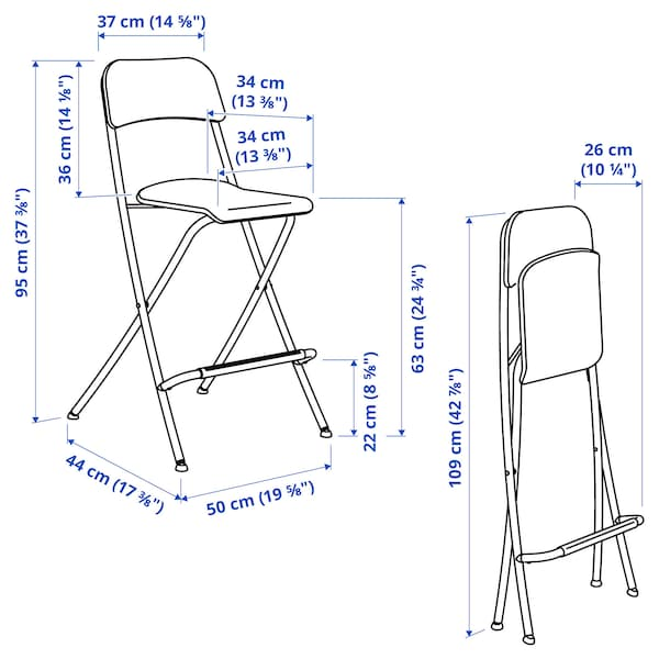 "FRANKLIN Bar stool with backrest, foldable, white/white, 24 3/4 """