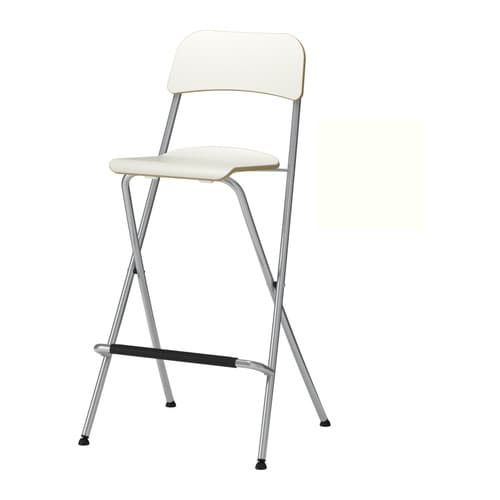 FRANKLIN Bar stool with backrest, foldable, white, silver color white/silver color 29 1/8