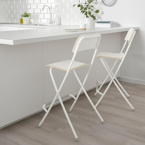 "FRANKLIN bar stool with backrest, foldable white/white 220 lb 19 5/8 "" 17 3/8 "" 37 3/8 "" 13 3/8 "" 13 3/8 "" 24 3/4 """