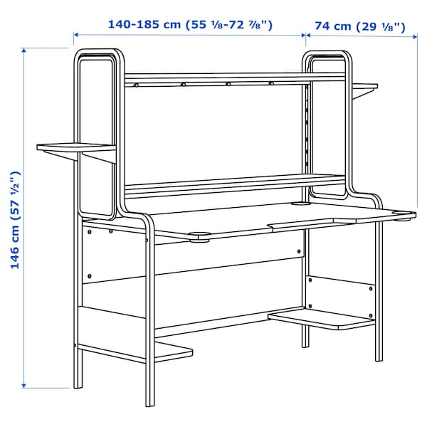 """FREDDE Gaming desk, white, 72 7/8x29 1/8x57 1/2 """""""