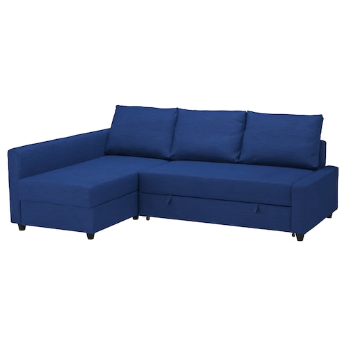 "FRIHETEN sleeper sectional,3 seat w/storage Skiftebo blue 90 1/2 "" 59 1/2 "" 26 "" 55 1/8 "" 80 3/8 """