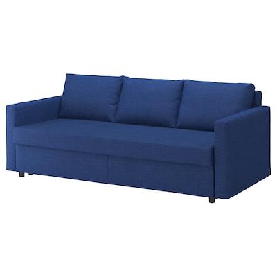 """FRIHETEN sleeper sofa Skiftebo blue 88 5/8 """" 41 3/8 """" 32 5/8 """" 24 """" 18 1/8 """" 56 3/4 """" 78 3/8 """""""