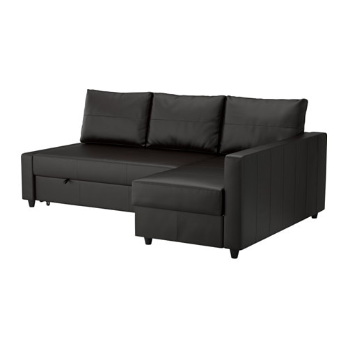 Friheten sofa bed with chaise bomstad black ikea for Chaise longue sofa cama