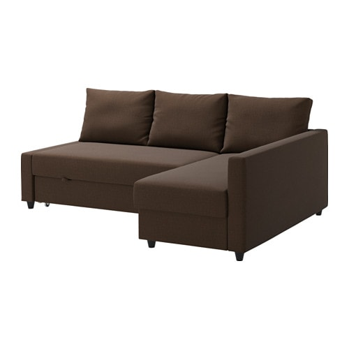 Friheten sofa bed with chaise skiftebo brown ikea for Brown chaise sofa