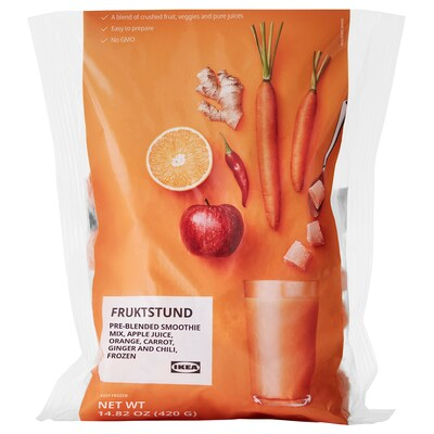 FRUKTSTUND Pre-blended smoothie mix, orange/carrot with ginger and chili/frozen, 1 lb