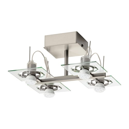 FUGA Ceiling light with 4 spotlights, chrome plated, clear glass chrome plated/clear glass -