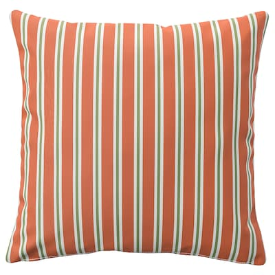 FUNKÖN Cushion cover, in/outdoor, orange stripe, 20x20 ""