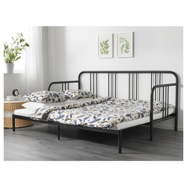 """FYRESDAL daybed with 2 mattresses black/Meistervik firm 77 1/2 """" 41 3/8 """" 37 """" 82 5/8 """" 77 1/2 """" 74 3/8 """" 38 1/4 """""""