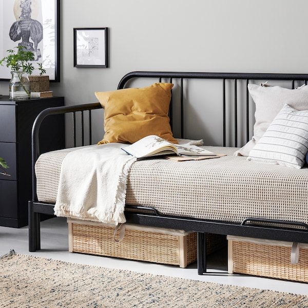 FYRESDAL Daybed with 2 mattresses, black/Minnesund firm, Twin