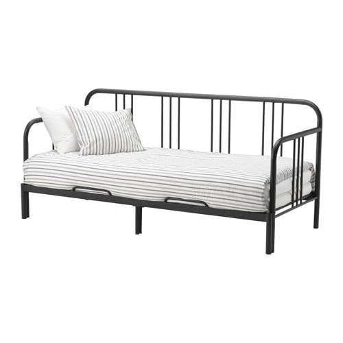FYRESDAL Daybed with 2 mattresses, black, Husvika firm black/Husvika firm Twin