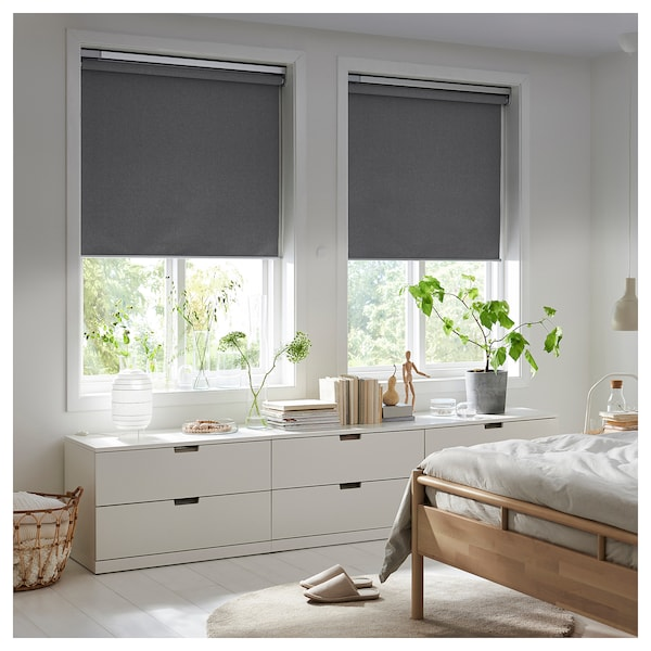 Blackout Roller Blind Fyrtur Wireless Battery Operated Gray