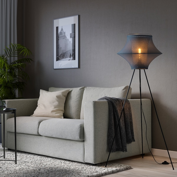 FYXNÄS Floor lamp with LED bulb, turquoise