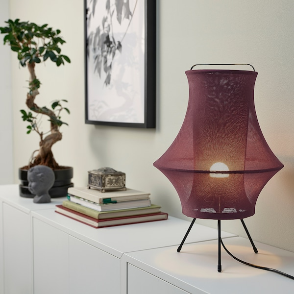 FYXNÄS Table lamp with LED bulb, dark red, 17 ""