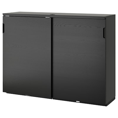 """GALANT cabinet with sliding doors black stained ash veneer 63 """" 17 3/4 """" 47 1/4 """" 66 lb"""