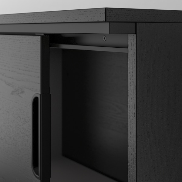"GALANT cabinet with sliding doors black stained ash veneer 63 "" 17 3/4 "" 47 1/4 "" 66 lb"