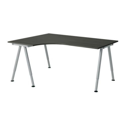 GALANT Corner desk-left, black-brown, silver color black-brown A-leg silver color