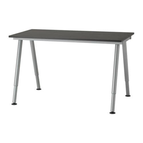 Office desks galant bekant system ikea for Bureau noir ikea