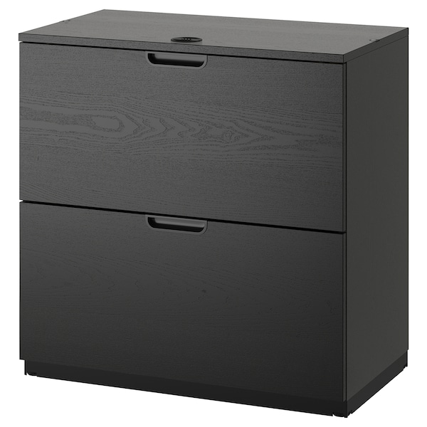 GALANT Drawer unit/drop file storage, black stained ash veneer, 31 1/2x31 1/2 ""