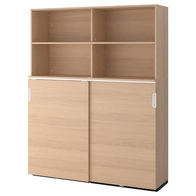 "GALANT Storage combination w sliding doors, white stained oak veneer, 63x78 3/4 """